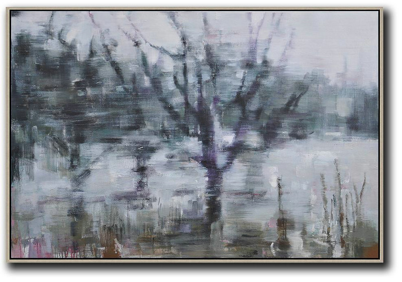 Horizontal Abstract Landscape Oil Painting,Modern Art Abstract Painting White,Dark Green,Purple,Black