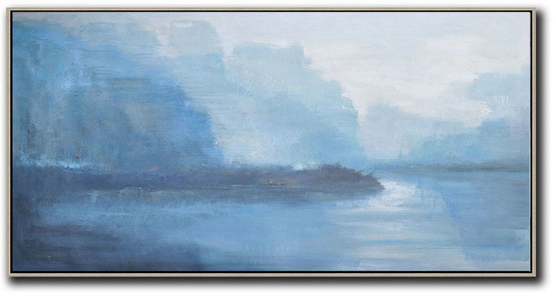 Panoramic Abstract Landscape Painting,Hand Painted Aclylic Painting On Canvas White,Sky Blue,Blue,Purple