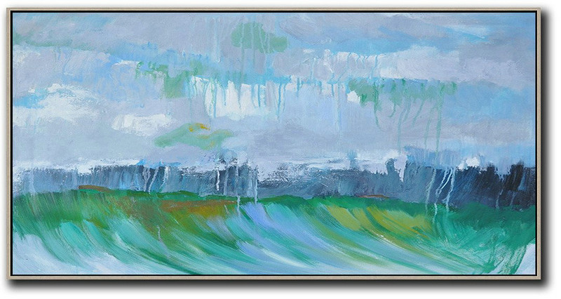 Panoramic Abstract Landscape Painting,Original Art Acrylic Painting Grey,Dark Blue,Green