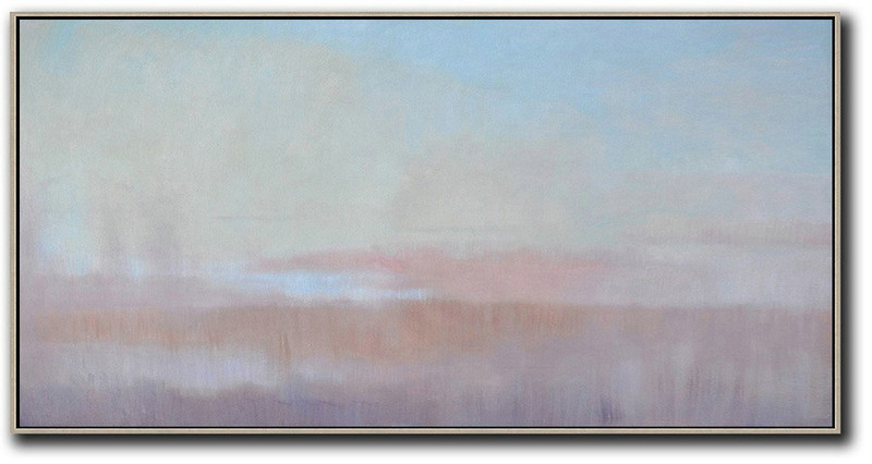 Panoramic Abstract Landscape Painting,Acrylic Painting On Canvas Sky Blue,Light Yellow,Pink