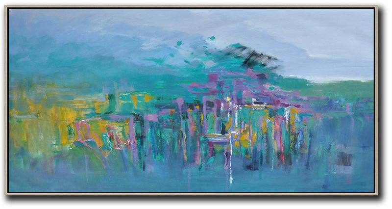 Panoramic Abstract Landscape Painting,Huge Abstract Canvas Art Purple Grey,Green,Purple,Yellow