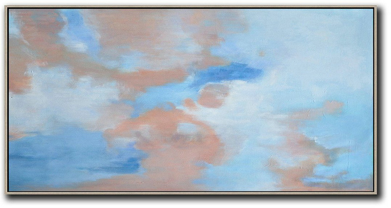 Panoramic Abstract Landscape Painting,Acrylic Painting Large Wall Art Pink,Blue,White