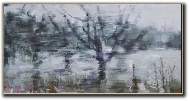 Panoramic Abstract Landscape Painting,Modern Paintings On Canvas Grey,Dark Green,Purple