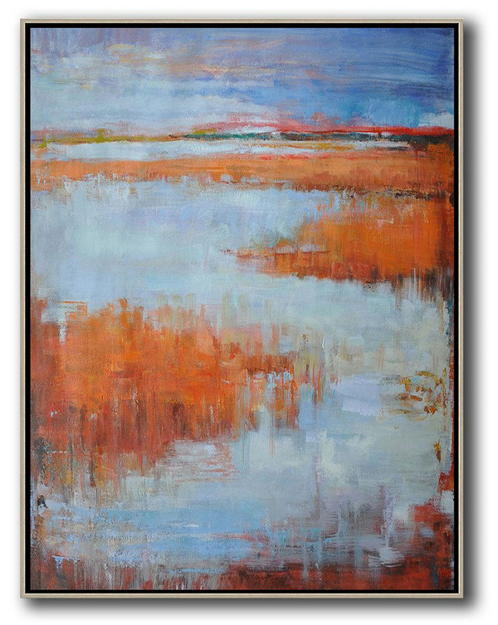 Abstract Landscape Painting,Colorful Wall Art Blue,Orange,Purple Grey,Red
