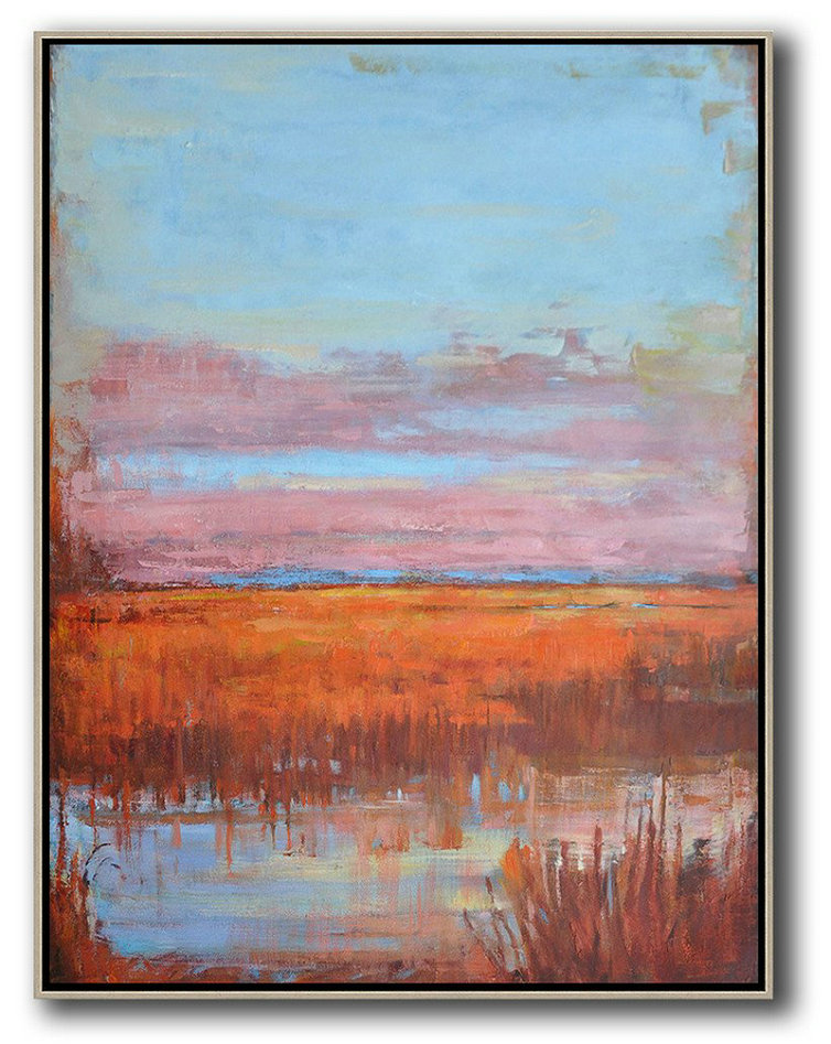 Abstract Landscape Painting,Wall Art Ideas For Living Room Sky Blue,Pink,Orange,Red