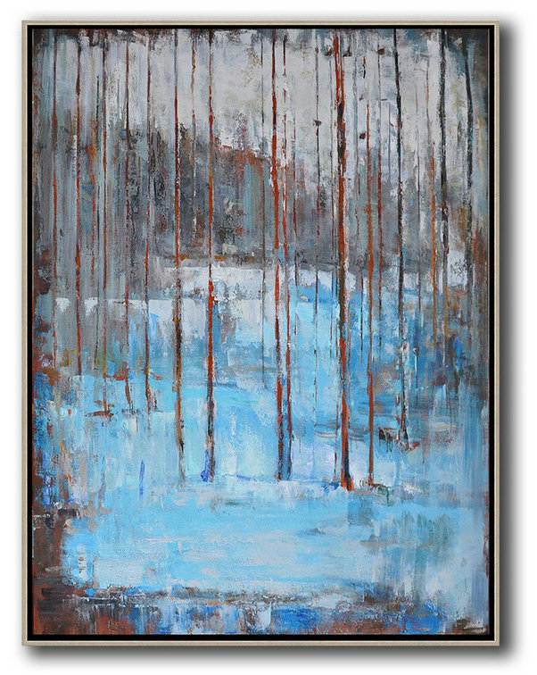 Abstract Landscape Painting,Modern Living Room Decor White,Grey,Red,Blue