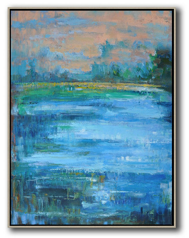 Abstract Landscape Painting,Canvas Wall Paintings Earthy Yellow ,Blue,Green