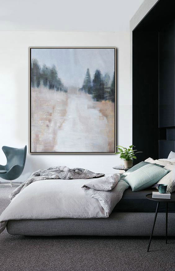 Abstract Landscape Painting,Large Living Room Decor Grey,Dark Green,Nude - Click Image to Close