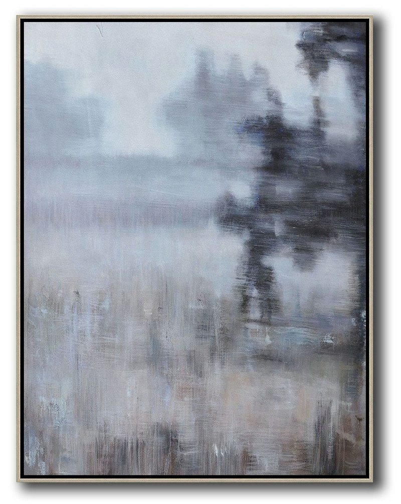 Abstract Landscape Painting,Canvas Wall Art Home Decor White,Grey,Brown,Black