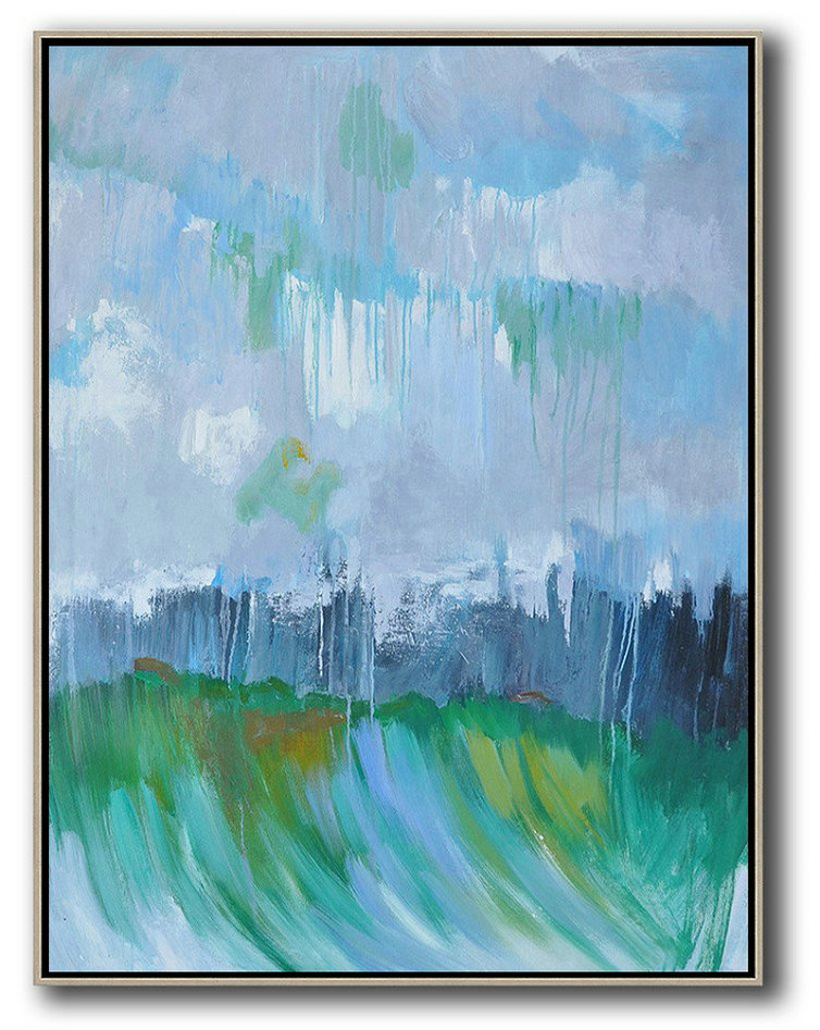 Abstract Landscape Painting,Big Painting Sky Blue,Purple Grey,Dark Blue,Green