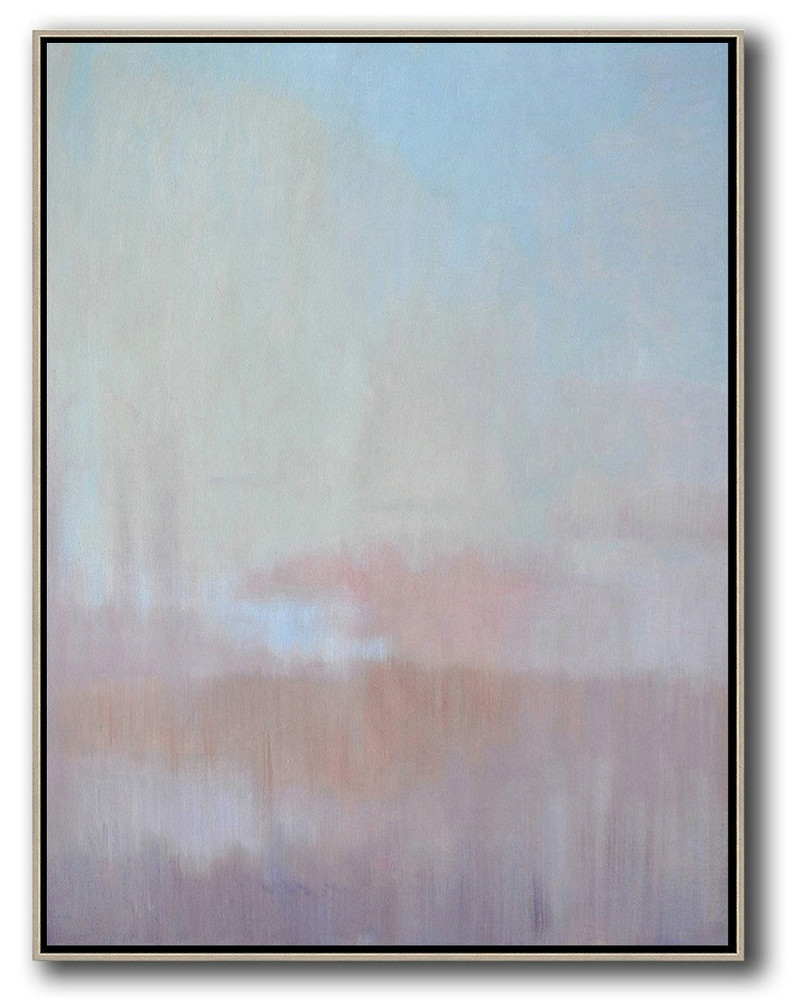 Abstract Landscape Painting,Hand Paint Large Clean Modern Art Sky Blue,Light Yellow,Pink