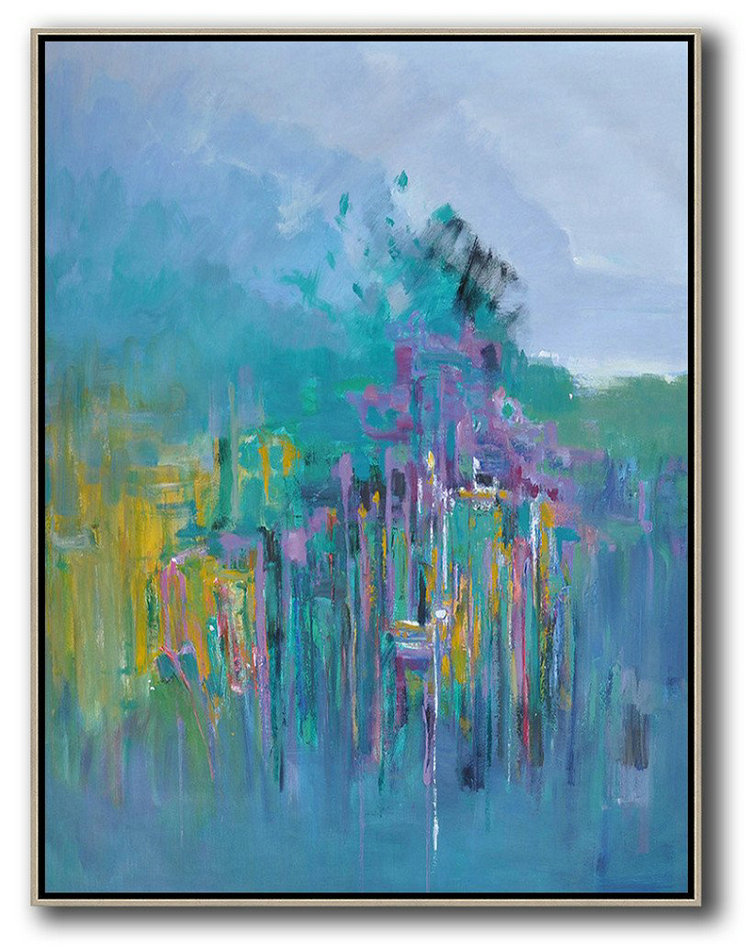 Abstract Landscape Painting,Xl Large Canvas Art Purple Grey,Green,Purple,Yellow