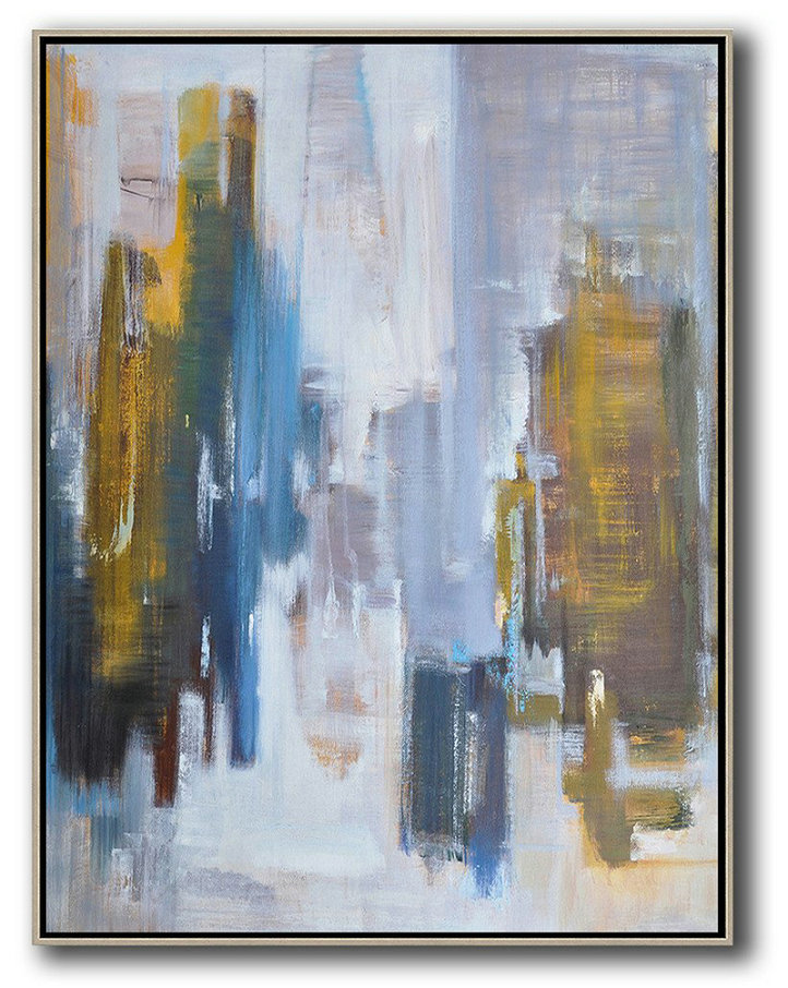 Abstract Landscape Painting,Hand Painted Acrylic Painting White,Purple Grey,Yellow,Blue