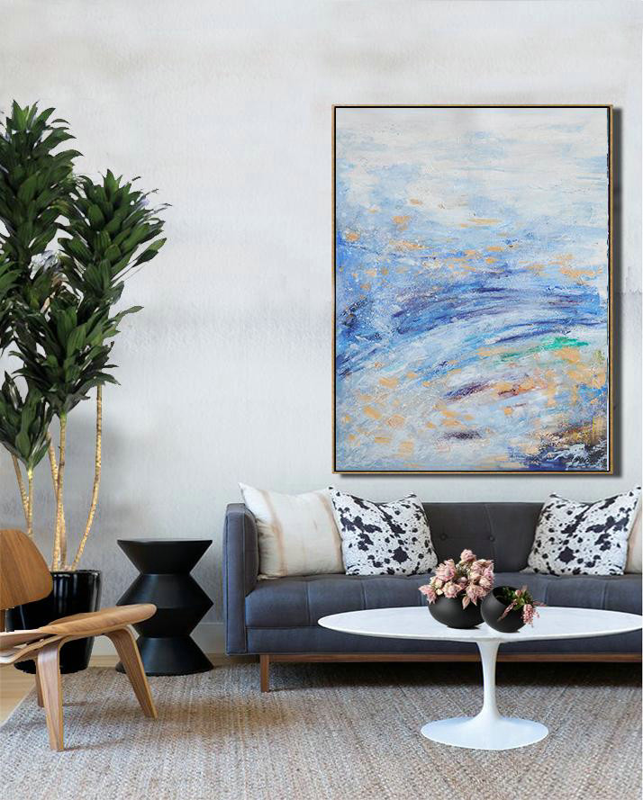 Abstract Landscape Painting,Abstract Art Decor,Contemporary Painting Grey,Blue,Yellow