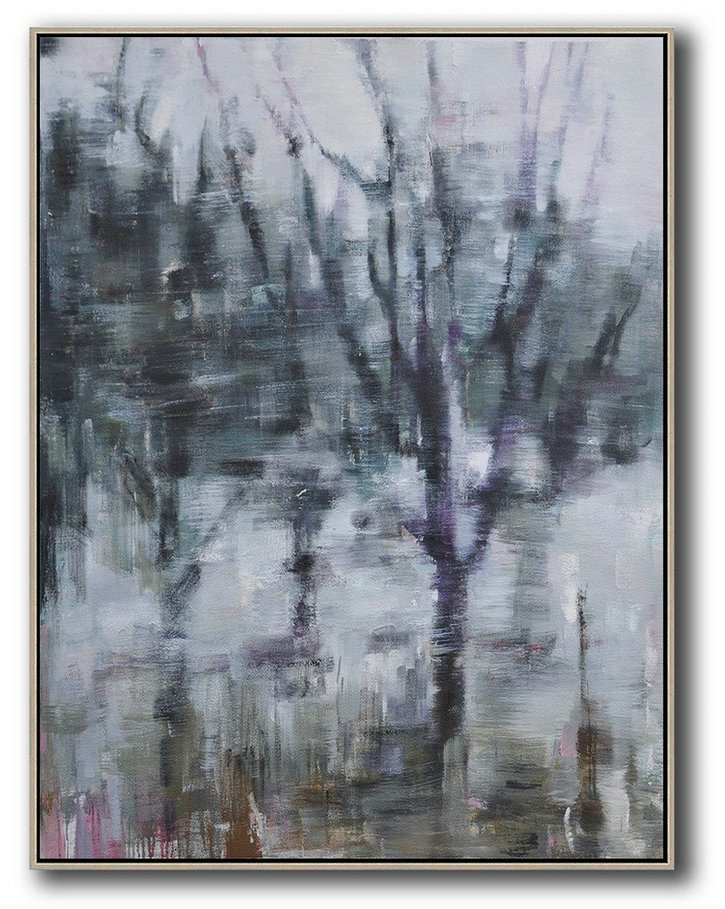 Abstract Landscape Painting,Acrylic Painting Wall Art White,Dark Green,Grey,Purple