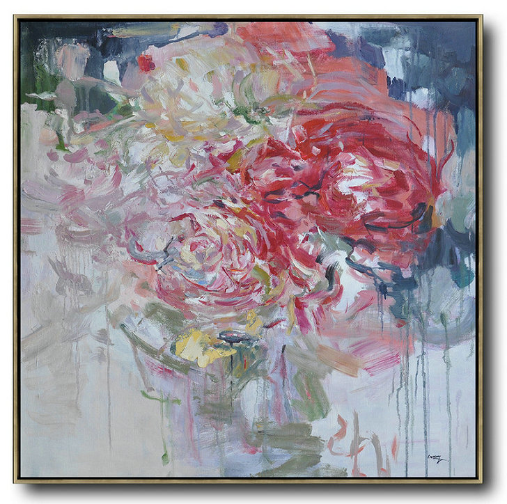 Abstract Flower Oil Painting Large Size Modern Wall Art,Contemporary Art Wall Decor #P4K1