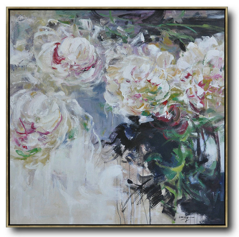 Abstract Flower Oil Painting Large Size Modern Wall Art,Contemporary Canvas Paintings #L7N8