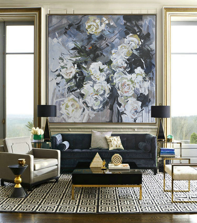 Abstract Flower Oil Painting Large Size Modern Wall Art,Size Extra Large Abstract Art #U4H0