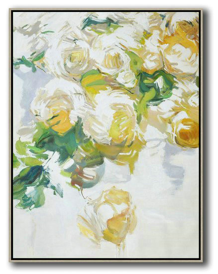 Hame Made Extra Large Vertical Abstract Flower Oil Painting,Hand Painted Original Art #S1F4