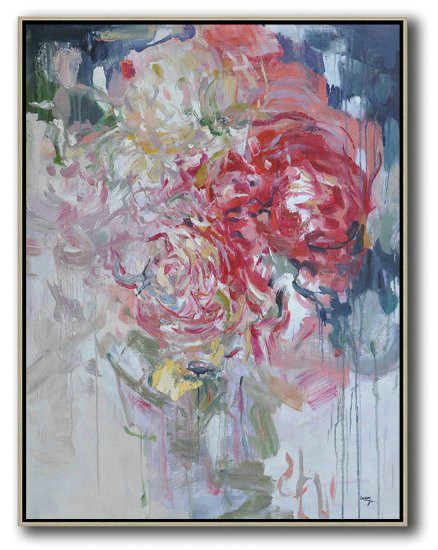 Hame Made Extra Large Vertical Abstract Flower Oil Painting,Huge Abstract Canvas Art #A3U1