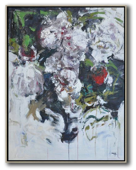 Hame Made Extra Large Vertical Abstract Flower Oil Painting,Living Room Wall Art #I4Y9