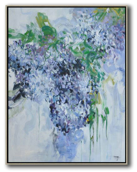 Hame Made Extra Large Vertical Abstract Flower Oil Painting,Large Wall Art Canvas #F6D2