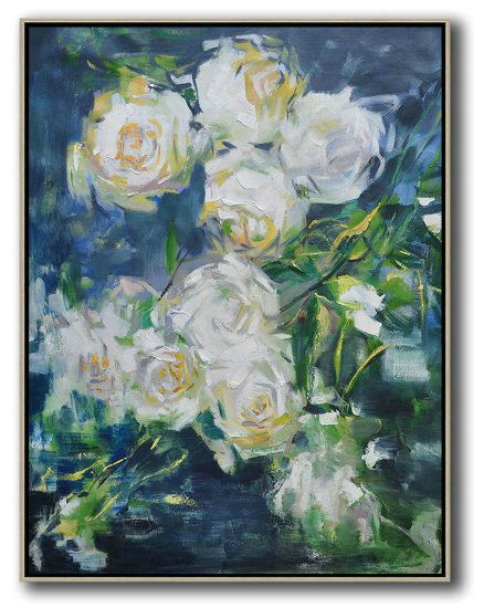 Hame Made Extra Large Vertical Abstract Flower Oil Painting,Custom Canvas Wall Art #E6S6
