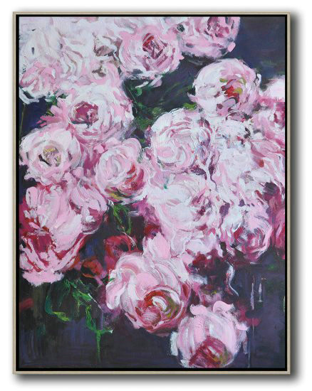 Hame Made Extra Large Vertical Abstract Flower Oil Painting,Large Wall Art Home Decor #V7Z8