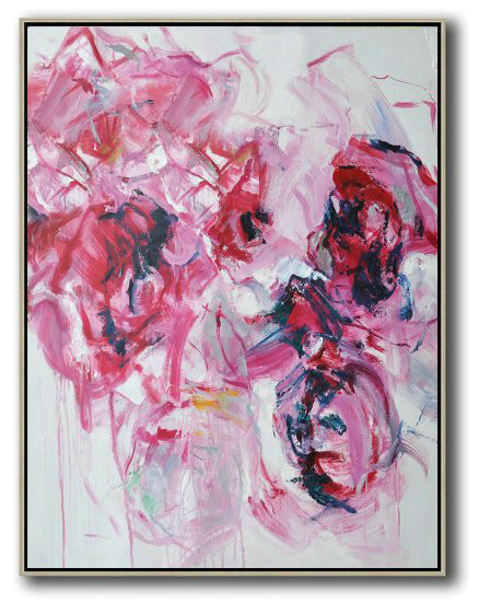 Hame Made Extra Large Vertical Abstract Flower Oil Painting,Large Paintings For Living Room #C2W3