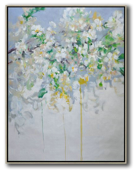 Hame Made Extra Large Vertical Abstract Flower Oil Painting,Large Colorful Wall Art #X1S5
