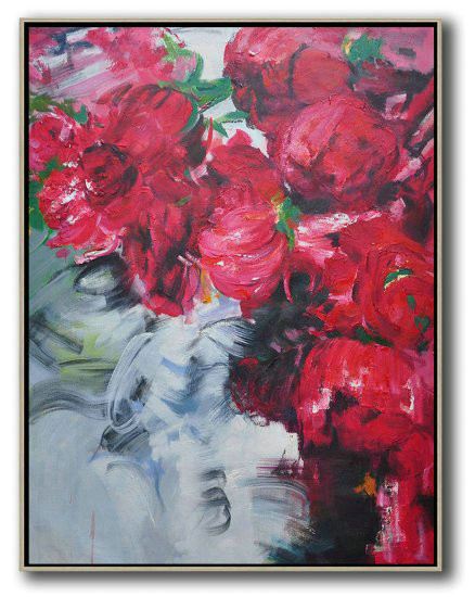 Hame Made Extra Large Vertical Abstract Flower Oil Painting,Huge Canvas Art On Canvas #L4U2
