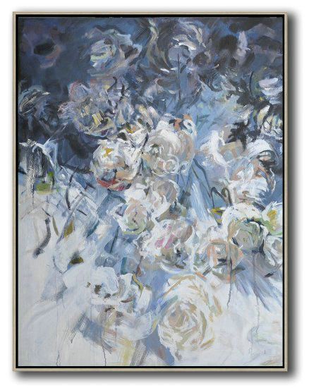 Hame Made Extra Large Vertical Abstract Flower Oil Painting,Extra Large Wall Art #K0G0