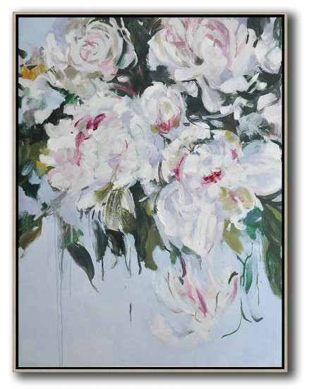 Hame Made Extra Large Vertical Abstract Flower Oil Painting,Original Abstract Painting Canvas Art #B0H0