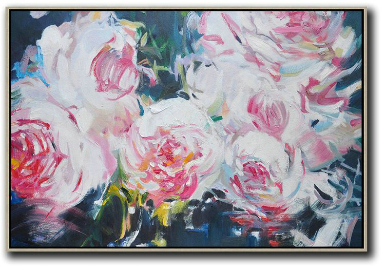 Horizontal Abstract Flower Painting Living Room Wall Art,Large Wall Canvas #Q9H2