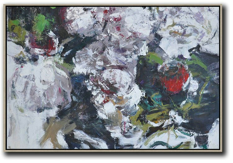 Horizontal Abstract Flower Painting Living Room Wall Art,Acrylic Painting Wall Art #E7I6
