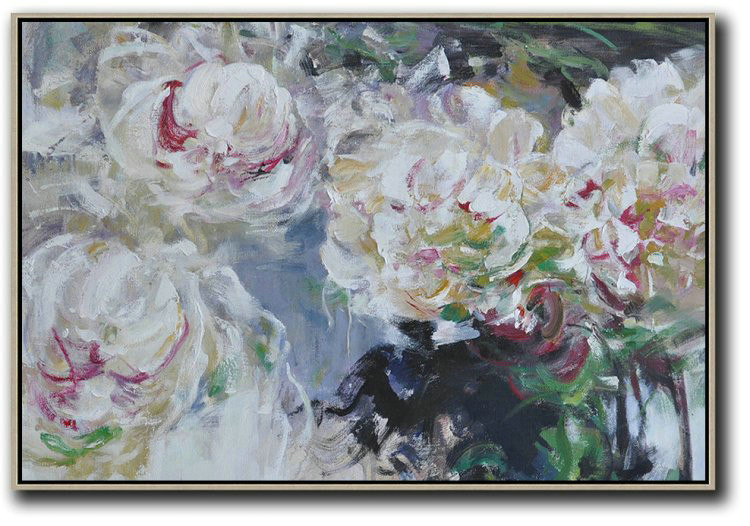 Horizontal Abstract Flower Painting Living Room Wall Art,Abstract Art On Canvas, Modern Art #T8E4
