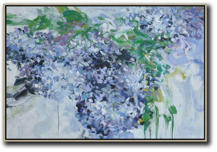 Horizontal Abstract Flower Painting Living Room Wall Art,Abstract Art Decor Large Canvas Painting #L5T8