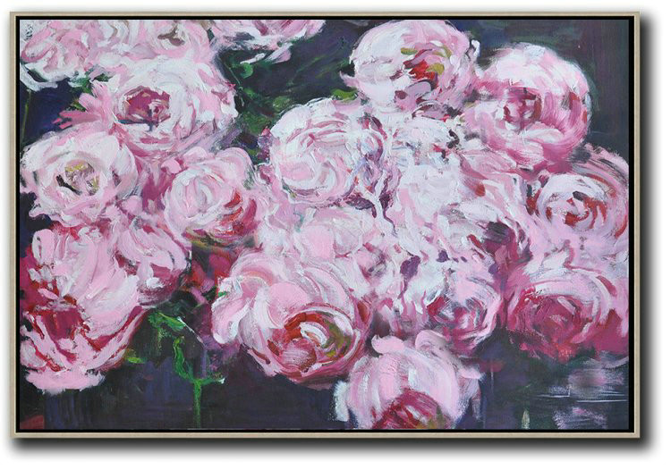 Horizontal Abstract Flower Painting Living Room Wall Art,Modern Art Abstract Painting #N8A3