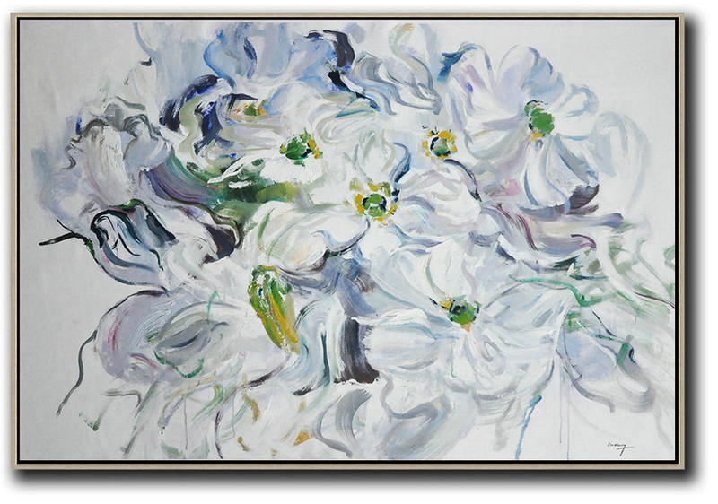 Horizontal Abstract Flower Painting Living Room Wall Art,Hand-Painted Contemporary Art #G8N3