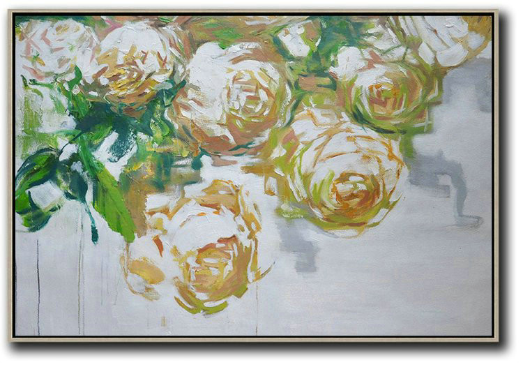 Horizontal Abstract Flower Painting Living Room Wall Art,Original Modern Art,Large Wall Art Handmade #F3U5