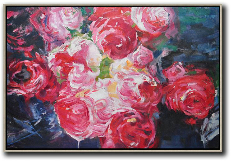 Horizontal Abstract Flower Painting Living Room Wall Art,Xl Large Canvas Art #Z5N2